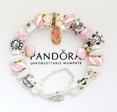 Authentic Pandora Sterling Silver Charm Bracelet with Charms Pink Gold Beach New #PandoraBraceletwithEuropeanCharms #European