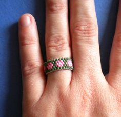 Pink Green Seed Bead Flower Peyote Ring