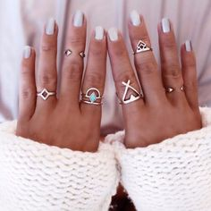 6PCS Vintage Turkish Beach Punk Geometry Ring Set. Ethnic Carved Silver Plated Boho Midi Finger Rings. Item Type: Rings Fine or Fashion: Fashion Style: Trendy Gender: Women Setting Type: Channel Setti