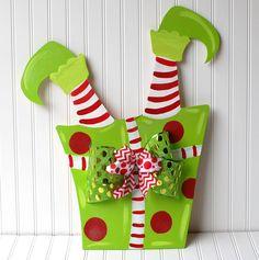 Christmas Wreath Christmas Door Decoration by LooLeighsCharm Elf Decorations, Christmas Door Decorations, Christmas Yard, Christmas Signs, Christmas Projects, Christmas Holidays, Christmas Wreaths, Christmas Ornaments, Burlap Crafts