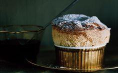 Spiced-Pumpkin Souffles with Bourbon Molasses Sauce: 2000s Recipes + Menus : gourmet.com