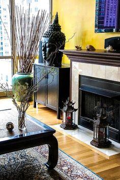 Asian Living Room with Urban Trends Jasmine 2 Piece Wooden Lantern Set, stone fireplace, Laminate floors