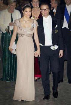 Crown Princess Victoria of Sweden in an empire waist neutral dress  #Charismatic #Fashionista
