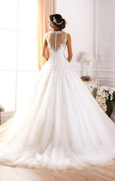 Aliexpress.com: Comprar Vestidos de novia 2016 blanco   de encaje una línea de Vestidos de novia Tulle del tren del barrido Bruidsju