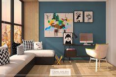 Projeto de living/home office onde o tom de azul acinzentado da parede, destacou as obras de arte especialmente selecionadas por nós #camilakleinarquiteta #homeoffice #living #arte #paixaopordecorar