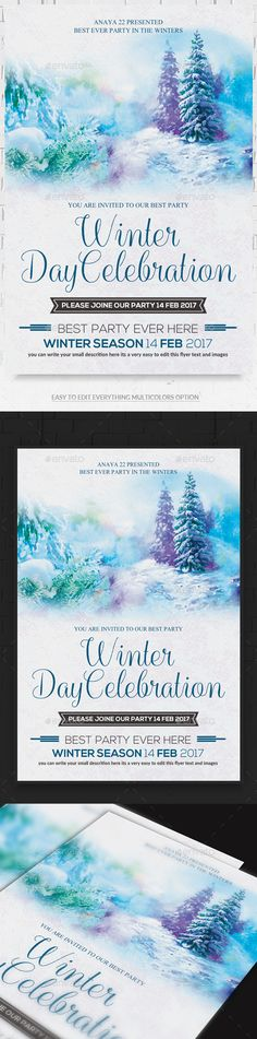 Abstract Party Flyer Party flyer, Flyer template and Font logo - winter flyer template