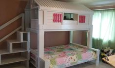 full bed with loft playhouse by BigCreekFurniture on Etsy