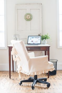 A desk chair gets a new look with a feminine slipcover (ruffled skirt, ties and all)! See the complete transformation...