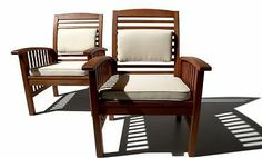 Strathwood All Weather Hardwood Arm Chair for Home Patio Beach Condo Set of 2 | eBay