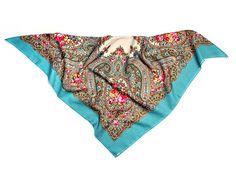 Russisches Tuch GELA in blau, 100% Wolle, mit Blumen, russischer Schal / Stola - 100% Original, sehr hohe Qualität: Amazon.de: Bekleidung