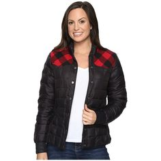 Roper Down and Turq Jacket (Black) ($98) ❤ liked on Polyvore featuring outerwear, jackets, quilted puffer jacket, quilted jackets, pocket jacket, feather jackets and quilted flannel jacket