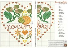 cross stitch hearts of the month birthday 11 of 12 November