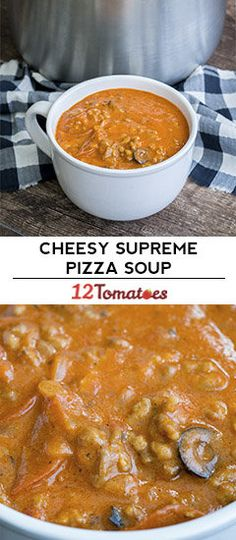 Cheesy Supreme Pizza Soup The post Cheesy Supreme Pizza Soup appeared first on Woman Casual - Food and drink The Soup Recipes, Cooking Recipes, Family Recipes, Pizza Recipes, Recipes Dinner, Recipies, 12 Tomatoes Recipes, Pizza Soup, Supreme Pizza