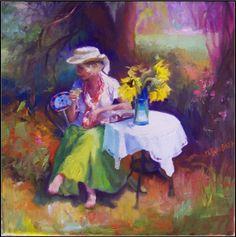 Garden of Serenity, paintings of gardens, sunflowers, ladies in hats, wine, painting by artist Maryanne Jacobsen
