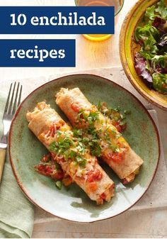 10 Enchiladas Recipes – Are you an enchiladas fan? You'll find recipes here for any kind of enchilada out there—from party fare to weeknight-quick recipes.