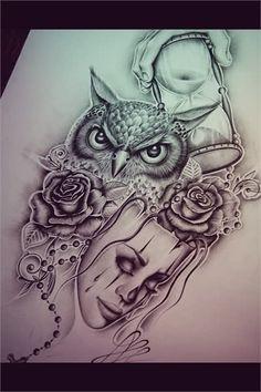 Αποτέλεσμα εικόνας για owl with roses