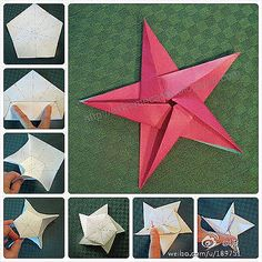 origami star, start with pentagon base