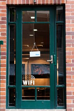 """""""A cute little \""""Free WiFi\"""" sign that is perfect for a shop, boutique, cafe, etc window! SKU: Q0131 Dimensions: Small - 7.2 inches width, 5.7 inches height Large - 14.8 inches width, 11.3 inches height SPECIAL NOTES: This decal is cut as seen in the image (which would apply to the outside of a window or to a wall), if you want to apply the decal to the inside of a window to be seen from the outside, please write in the 'notes to Dana Decals\"""" section of your order page that you would like the d Bar Restaurant Design, Restaurant Signage, Starbucks Art, Chalkboard Vinyl, Storefront Signs, Architecture Restaurant, Design Café, Interior Windows, Teal Walls"""