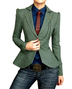 Love the military style jacket.