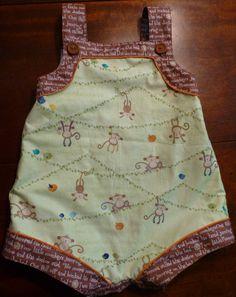 By Debbie Galdo. Children's Corner Madison pattern in No More Monkees cotton print, piped in orange