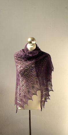 Purple Plum hand knitted lace shawl.  via Etsy.