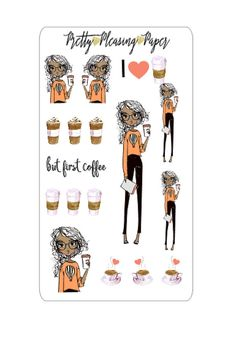 Decor sheet includes 17 stickers with cute Coffee theme. Listing is for 1 sheet.  Sized to fit most planners.  Stickers are kiss cut. Sticker paper is matte, non-removable.  Stickers are digitally designed and cut by a machine, on some occasions there may be very slight cut imperfections in which a sliver of white from the sticker paper show in the cut. I will always try to minimize this to the very best of my ability.