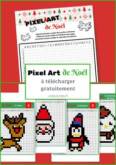 Pixel Christmas Art: 12 templates to print for free - Caroline Lavoisier - - Pixel Art de Noël : 12 modèles à imprimer gratuitement Pixel Christmas Art: 12 models to print for free – One day a game - Pixel Art Noel, Christmas Love, Xmas, Christmas Tables, Nordic Christmas, Modern Christmas, Christmas Holidays, Diy Crafts For Kids, Art For Kids
