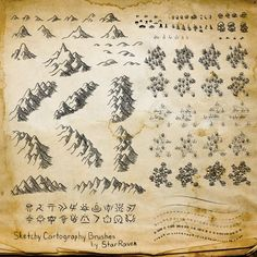 Cartography by StarRaven Brosses Photoshop, Photoshop Brushes, Photoshop Tutorial, Fantasy Map Making, Fantasy World Map, Maps Design, Design Ios, Gimp Brushes, Map Symbols