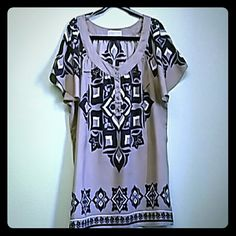 Michael Kors Top Shirt is khaki background with navy and cream design MICHAEL Michael Kors Tops Blouses
