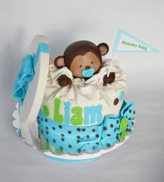 Monkey Baby shower cake by Ashlie PIeren Goetze