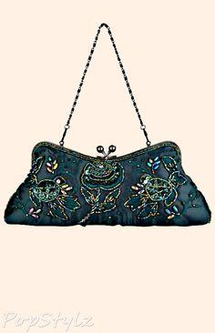 MG Collection Vintage Rhinestone Rosette Handbag