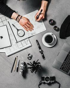 Turning plans into action 💡👊🏻 // Canon Mark ii & EF IS USMShot @ 500 Edited in Lightroom ________________________________ Flat Lay Photography, Coffee Photography, Lifestyle Photography, Photography Poses, Feeds Instagram, Behind Blue Eyes, Style Noir, Desk Setup, Office Setup