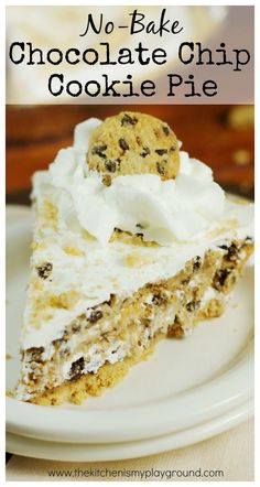 Four simple ingredients come together to create one delicious No-Bake Chocolate Chip Cookie Pie . And you won't believe how easy it is!   ...