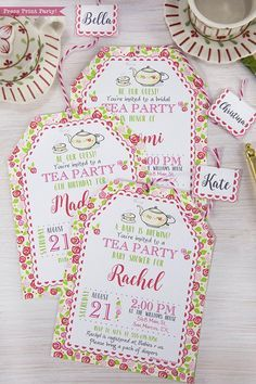 This tea party printable invitation set offers great flexibility. Customize it for a special birthday, A baby is brewing baby shower tea party, a mothers day celebration, a bridal shower, or anniversary. Designed to look like a tea bag, It comes with its own printable tag, envelope,