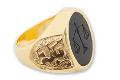 Lawyers Ring Intaglio Gold Plated Silver With Lion by Regnas, $349.00
