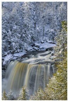 """Winter Wonderland"" Blackwater Falls, West Virginia, photo by Joseph Rossbach Beautiful Waterfalls, Beautiful Landscapes, Belle Image Nature, Blackwater Falls, I Love Winter, Winter Snow, Winter White, Winter Magic, Winter Scenery"