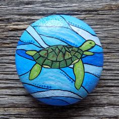Sea Turtle Painted Rock, Decorative Accent Stone, Paperweight by HeartandSoulbyDeb on Etsy Peace Painting, Sea Turtle Painting, Stone Painting, Shell Painting, Turtle Painted Rocks, Hand Painted Rocks, Painted Stones, Rock Painting Ideas Easy, Rock Painting Designs