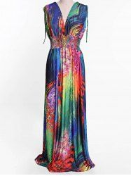 Sexy Women's Plunging Neck Colorful Feather Print Sleeveless Dress (COLORMIX,3XL) | Sammydress.com Mobile
