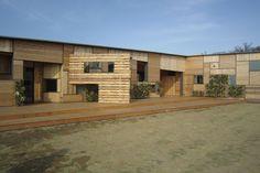 """Kids Academy Taiyogaoka Hoikuen"" (2013) | Ishikawa, Japan • Kengo Kuma + Associates.  ""We wanted to build a nursery school close to the ground."" — Kengo Kuma + Associates"