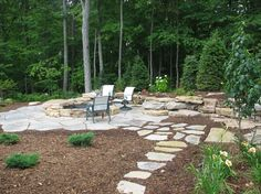 Flagstone patio with path