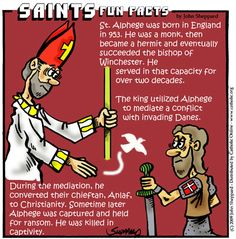 """Bishop and prophet, called """"the Elder"""" or """"the Bald."""" Also known as Elphege, he was the bishop of Winchester, England. There he ordained St. A holy prophet, Alphege is credited with helping to restore monasticism to England. Catholic Saints, Roman Catholic, Saints For Kids, Modern Egypt, Catholic Online, Saint A, St Clare's, Praying The Rosary, Religious Education"""