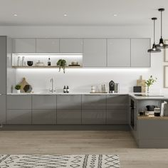 small kitchen design models seem spacious to inspire your home's kitchen remodeling that feels cramped 31 Grey Kitchen Interior, Grey Kitchen Cupboards, Modern Grey Kitchen, Light Grey Kitchens, White Wood Kitchens, White Gloss Kitchen, Grey Kitchen Designs, Gray And White Kitchen, Modern Kitchen Design