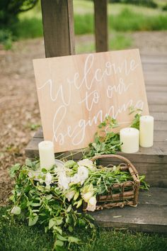 Wood wedding signage