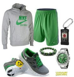 Green gray nike outfit