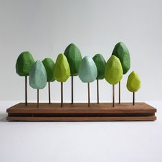 Miniature spring forest in shades of green - tabletop decor .- Miniature spring forest in shades of green – tabletop decor – grass green – mint green - Planer Layout, Landscape Model, Model Tree, Spring Forest, Idee Diy, Spring Green, Mint Green, Wood Toys, Identity Design