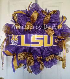 Deco Mesh and Tiger Ribbon LSU wreath. #deco #mesh #lsu #tigers #ribbon #wreath