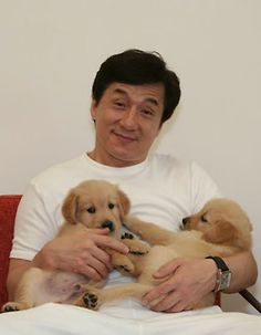 Jackie Chan and cute puppies on Tumblr