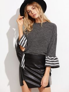 Black Striped Trim Bell Sleeve Top