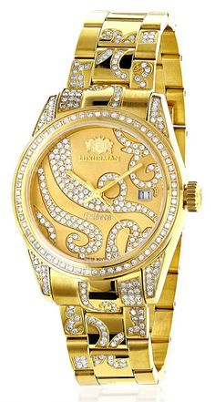 139a9a7000b This Iced Out Tribeca Ladies Diamond Watch by Luxurman is 18k yellow gold  plated and features