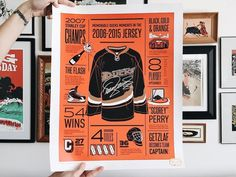 Anaheim Ducks Anniversary Poster by Amy Hood for Hoodzpah on Dribbble Jersey Day, Anaheim Ducks, 25th Anniversary, Local Artists, Card Templates, Flyer Template, A Team, Art Drawings, How To Memorize Things
